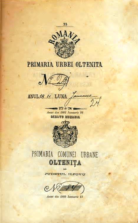 Primaria Urbei Olteniţa şi primăria Comunei urbane Olteniţa entităţi diferite în 1881, steme diferite.