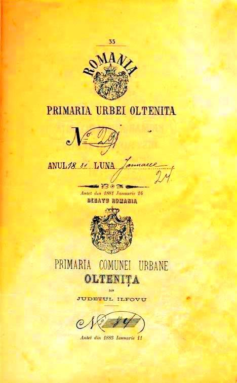 Primaria Oraşului Olteniţa şi primăria Comunei urbane Olteniţa entităţi diferite în 1881