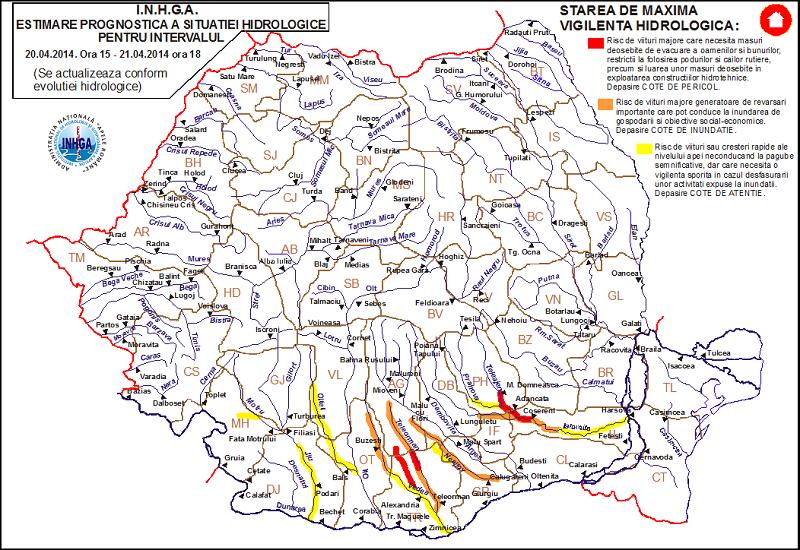 Cotele apelor râurilor din România.Avertizări!
