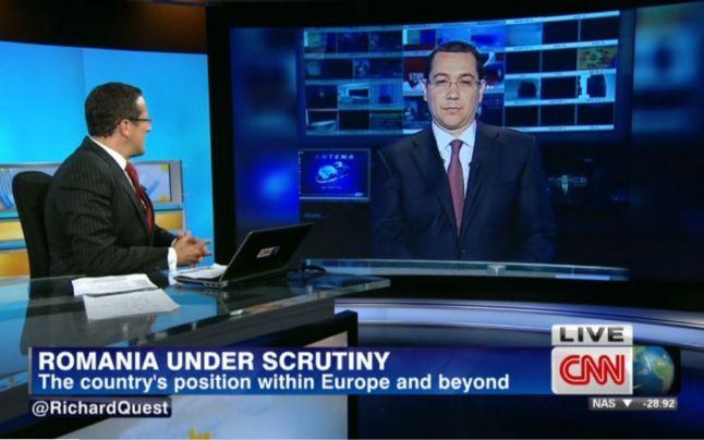 """VIDEO Victor Ponta, la CNN: """"Rusia nu trebuie lăsată să redeseneze graniţele Europei prin forţă"""". Premierul a răspuns şi acuzelor lui Nigel Farage"""